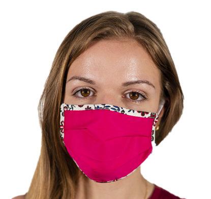 Mascherina protettiva in tessuto color fucsia da donna