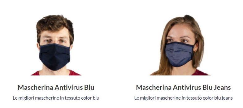 mascherine in cotone blu
